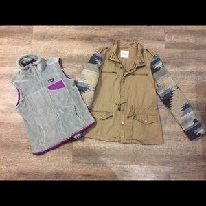 Patagonia vest purple gray thread & supply jacket